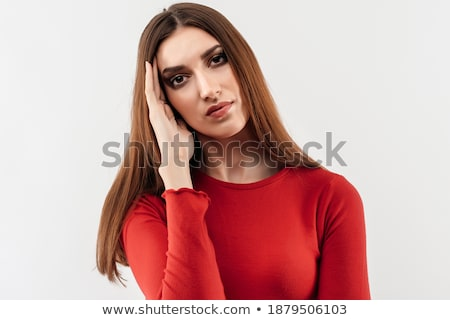 写真 動揺 女性 頭痛 寺 座って ストックフォト © deandrobot