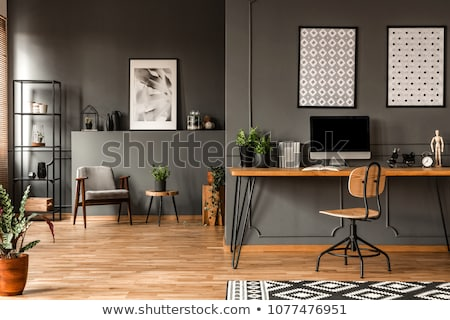 White furniture in black office Stock photo © kash76