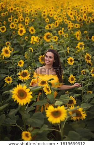 Yaz akşam portre güzel kız çıplak omuz Stok fotoğraf © pekour