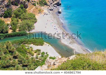 Stockfoto: Beroemd · rock · strand · verticaal · hemel · landschap