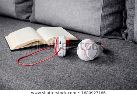 Rangée livres casque isolé blanche école Photo stock © AndreyKr