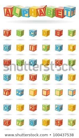 Izole nesneleri mektup bloklar yalıtılmış beyaz kırmızı Stok fotoğraf © Dizski
