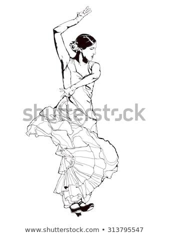 Hiszpanski tancerz fan kobieta oka Zdjęcia stock © photography33
