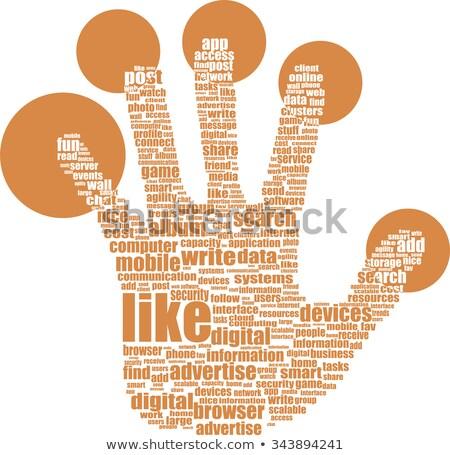 Thumbs Up Symbol Of Text Keywords On Like Themes Stock fotó © fotoscool
