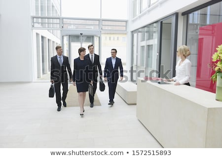 üzlet recepció asztal nő térkép szemüveg Stock fotó © photography33