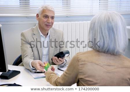 Francês seguro de saúde cartão menina médico feliz Foto stock © photography33