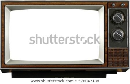 elöl · 1960-as · évek · öreg · televízió · fehér · fa - stock fotó © rufous