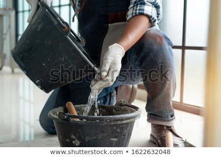 男 · 石膏 · 建設 · 壁 · 青 · ワーカー - ストックフォト © photography33