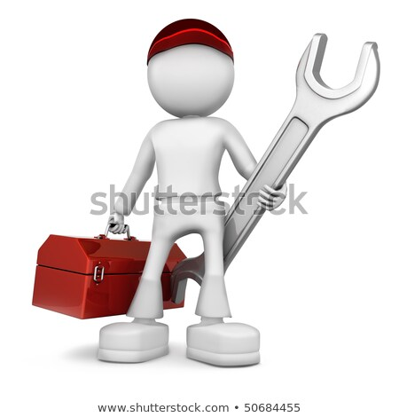 Stok fotoğraf: Man With A Wrench And Toolbox