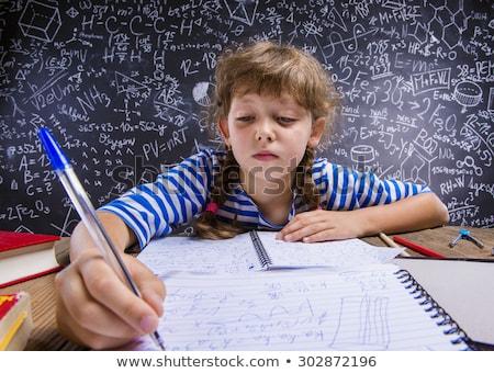 öğrenci ödev ev kız gülümseme Stok fotoğraf © wavebreak_media
