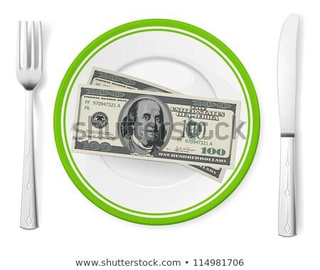 one dollar bills on a plate isolated Stock photo © leeavison