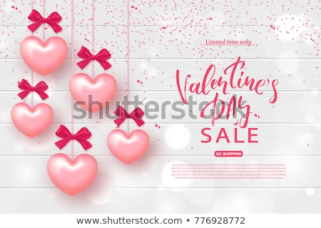 Stock photo: Valentine s Day banner with pearls, vector illustration