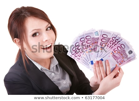 Beautiful success businesswoman holding Euro notes Stock photo © lunamarina