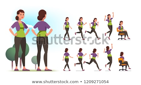 side of a casual woman with hands on hips stock photo © feedough