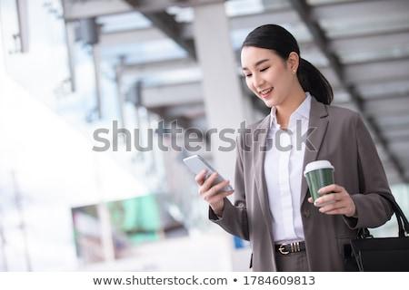 работу портрет современных деловой женщины портфель бизнеса Сток-фото © jayfish