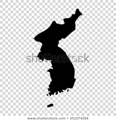 Black North Korea map Stock photo © Volina