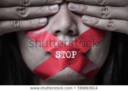 остановки женщину злоупотребление написанный мелом доске Сток-фото © nito