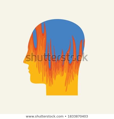 Colorido explosão pensamento dor cabeça perfil Foto stock © Balefire9