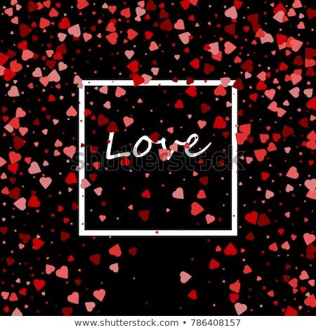 çerçeve kırmızı kalpler siyah sevgililer günü düğün Stok fotoğraf © impresja26