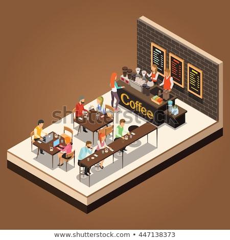kávézó · izometrikus · saját · világ · üzlet · munka - stock fotó © araga
