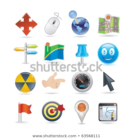 set of color smiley icons mapping pins stock photo © elenapro
