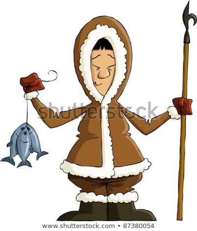 Cute cartoon eskimo fisherman Stock photo © antonbrand