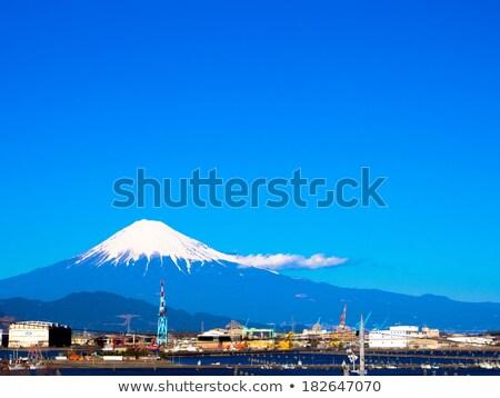 Foto stock: Montana · línea · Monte · Fuji · ciudad · cielo · nubes