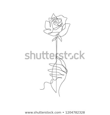 Twee handen bloemen geschenk retro-stijl Stockfoto © veralub