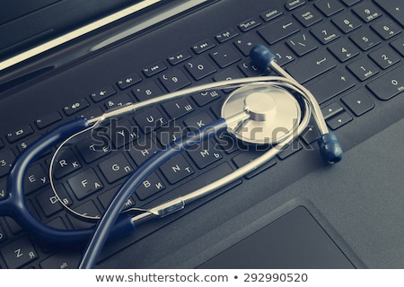 Sztetoszkóp fekete billentyűzet számítógép iroda orvosi Stock fotó © Marfot