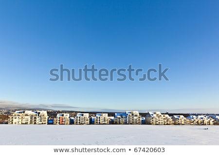 Stok fotoğraf: Güzel · manzara · konut · kış · mavi · gökyüzü · gökyüzü