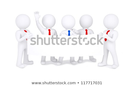 Five 3d white people holding blank poster Stock photo © cherezoff