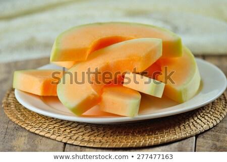 Meloen plaat tabel veld voedsel Stockfoto © marimorena