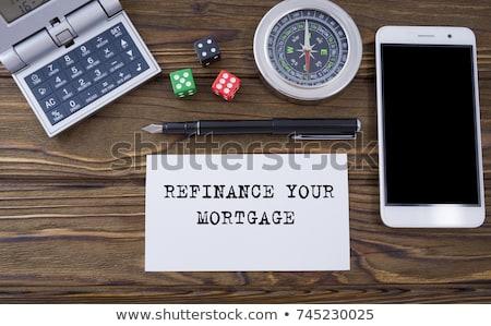 Piggy Bank калькулятор слово ипотечный написанный изолированный Сток-фото © diabluses