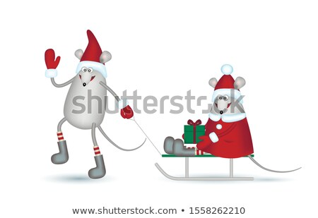 Lovers girl and boy on a sled Stock photo © orensila