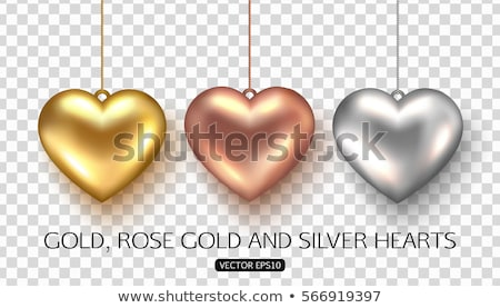 set of vector golden and silver hearts stock photo © voysla