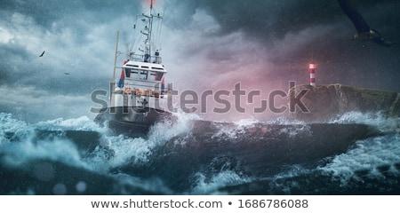 порт пейзаж группа воды закат судно Сток-фото © raywoo