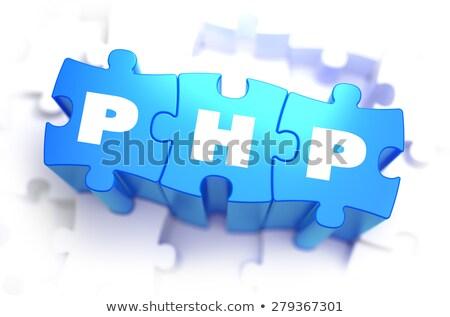php   text on blue puzzles stock photo © tashatuvango