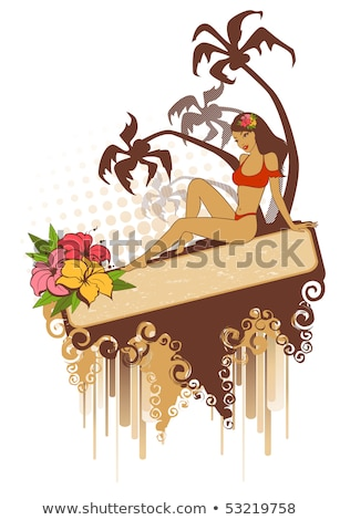 summer pin up girl and palm flowers vector illustration stock photo © carodi