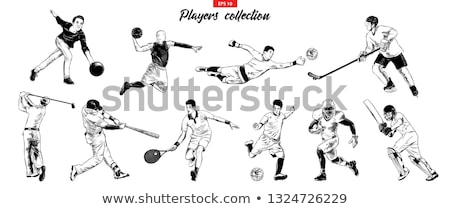 Rugby Player Woodcut Collection Stock photo © patrimonio
