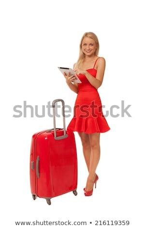 Vrouw rode jurk reizen geval geïsoleerd witte Stockfoto © Elnur