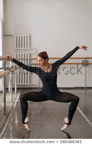 classic ballerina posing at ballet barre Stock photo © master1305
