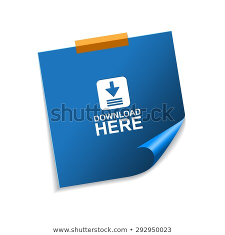 Stock photo: Download Here Vector Blue Sticky Notes Web Icon Set Button