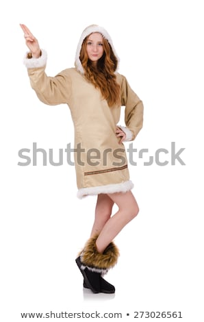 Eskimo girl wearing clothes of all fur isolated on white Stock photo © Elnur