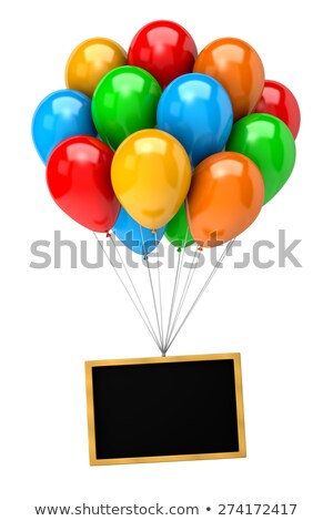 Bunch of Balloons Holding Up a Blank Chalkboard Stock photo © make