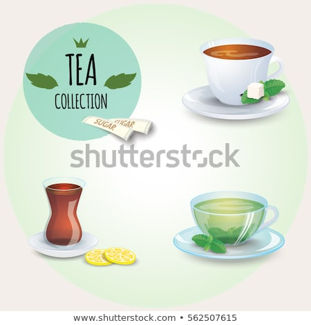 cup of green tea with lemon slice and jasmine flowers isolated o Stock photo © tetkoren