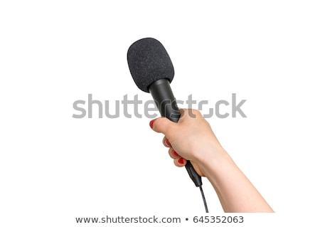 Black microphone in the hand Stock photo © GeniusKp