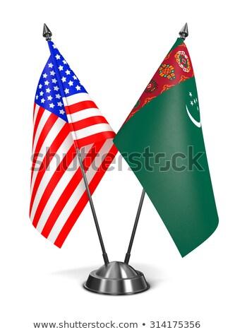 USA Türkmenisztán miniatűr zászlók izolált fehér Stock fotó © tashatuvango