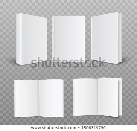 Open carta bianca libretto vista laterale isolato bianco Foto d'archivio © cherezoff