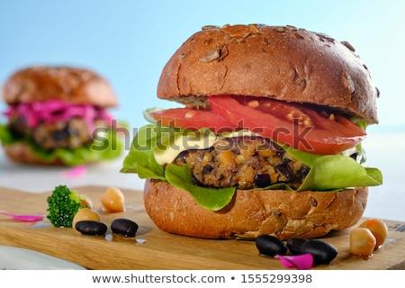 黒 豆 ベジタリアン ハンバーガー 全粒小麦 ロール ストックフォト © rojoimages