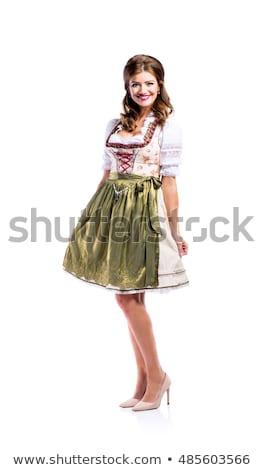 Stock fotó: Nő · jelmez · izolált · fehér · boldog · háttér